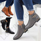 New Womens Ladies Flat Ankle Chelsea Boots Casual Buckle Side Zip Low Heel Shoes