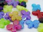 12x22mm 30pcs IRIDESCENT ASSORTED COLORS ACRYLIC BUTTERFLY BEADS Y02853