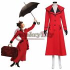 Custom Made Women's Mary Poppins Red Uniform red coat Dress For Party Cosplay