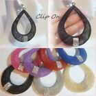 "Clip On 2.75"" MESH Teardrop Rhinestone Hoop Non Pierced Earrings 1 Pair Color"