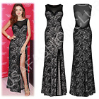 Women's Formal Maxi Evening Ball Gown Bridesmaids Cocktail Party Long Lace Dress