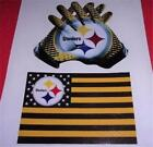 Pittsburgh Stealers Fan Pack Decal FLAG & GLOVE Vinyl Glossy Sticker Set Auto
