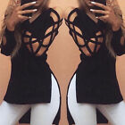 Fashion Women Long Sleeve Tops Lace Up T Shirt Ladies Loose Casual V Neck Blouse