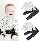 KQ_ Kids Baby Milk Bottle Long Sleeve O-Neck Top T-shirt + Pants Outfit Set Nove