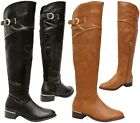 Ladies Women Flat Heel Thigh High Over The Knee Faux Leather Stretch Boots Shoes