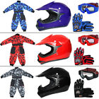 LEOPARD Kids Motocross Helmet Camo Race Suit ATV Bike Quad Dirt Gloves Goggles