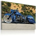 HARLEY DAVIDSON  MOTOR BIKE BLUE Large Wall Canvas Picture ART  HD15 £17.84 GBP on eBay