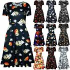 Womens Ladies Halloween Fancy Costume Scary Skull Flared Party Midi Skater Dress