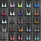Fashion Assorted Natural Gemstone Beads Silver Plated Dangle Earrings 6mm 10mm