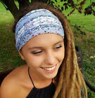 Unique Headband Handmade Gray with pattern Head Scarves Dreadlock Accessories