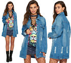 Womens Distressed Oversized Denim Jacket Ladies Long Sleeve Button Ripped New