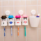 Wall-mounted Toothpaste Dispenser Holder+Gargle Cup+ Toothbrush Rack washroom