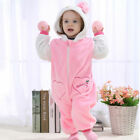Pink cute Hello Kity Newborn Winter Animal Flannel Romper Girl Baby Clothing