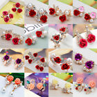 Women Elegant Rose Crystal Rhinestone Ear Stud Flower Earrings Fashion Jewelry