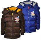 Boys George Peppa Pig Hooded Padded Winter Puffa Coat Anorak 3 to 8 Years