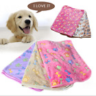 Pet Mat Small Large Paw Bone Print Cat Dog Puppy Cushion Fleece Soft Blanket Bed