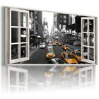 NEW YORK CITY TAXI 3D Window Canvas Wall Art Picture Large W384