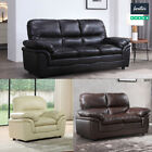 Verona Leather Sofas Suite Sofa Set 3+2+1 Black Brown Cream 3 Seater Couch Stool