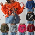 Fashion Women Print Hoodie Sweats Off Shoulder Pullover Loose Blouses Casual Top