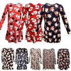 Ladies Girls Christmas Swing Dress Mother & Daughter Santa Snowmen Dresses New