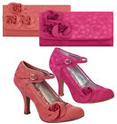 Ruby Shoo Anna Lace Mary Jane Pumps & Matching Milan Bag Fuchsia Pink / Coral