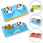 Pet Stainless Bowl Cat Twin Feeding Water Bowls Cat Bowl Double Pet Food Bowl