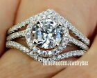 925 Sterling Silver White Gold Round cut Engagement Ring Wedding Bridal Band Set