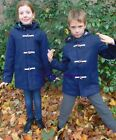 TOP STORE BOY GIRL UNISEX NAVY BLUE WOOL BLEND DUFFLE COAT AGE 3 TO 14 YEARS NEW