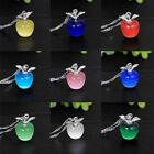Fashion Women 925 Silver Plated Apple Pendant Necklace Chain Jewelry Xmas Gift