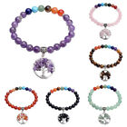 Silvery Tree of Life Charm 8mm Beads Chakra Stones Stretchy Bangle Bracelet Gift