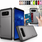 Shockproof Rugged Hybrid Slide Card Wallet Cover Case For Samsung Galaxy Note 8