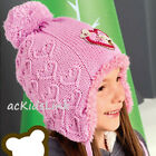 New Raster Girls Winter Hat Pom Pom Knitted Hat Faux Fur Lined Ties under Chin