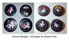Cute Unicorn Badges Buttons 8 different designs to choose from 38mm, 1.5 inches
