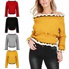 Womens Knitted Off Shoulder Ruched Ruffle Frill Bardot Ladies Jumper Crop Top