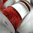 15mm, 38mm, 50mm Glitter Velvet Christmas Ribbon Red or White Glittery  Sparkly