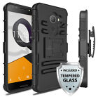 For Alcatel A30 Heavy Duty Armor Case Cover w/ Belt Clip Holster &Tempered Glass