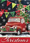 "Red Truck Chistmas House Flag  28"" x 40"" Double sided Flag by Carson Winter"