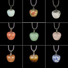 hand carved apple shape natural gemstone loose beads stone pendant necklace