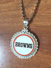 STERLING SILVER ROPE PENDANT W/ NFL CLEVELAND BROWNS c SETTING JEWELRY GIFT
