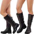 Women's shoes boots combat boots boots biker chain rubber sole new R602