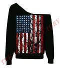 American Flag Sexy Off Shoulder Slouchy Sweatshirt US USA Patriotic Sweater