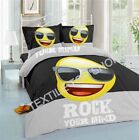Emoji Black Luxury Printed Duvet Quilt Cover Bedding Set With Pillowcases