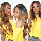 25 Inches Half Head Wig Long Straight Wavy OMBRE DIP DYE 3 4 Weave Brown Blonde