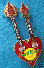 AMSTERDAM VALENTINE'S RED ROSES DOUBLE NECK HEARTG UITAR 2002 Hard Rock Cafe PIN