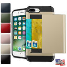 iPhone X 8 6 7 Plus Hard Hybrid Armor Case Cover With Slide Card Slot Holder For