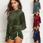 NEW WOMENS VELVET VELOUR CRUSHED 2PC JOGGING TOP SHORTS LOUNGEWEAR TRACKSUIT SET