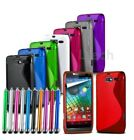 For All HTC Models - S-Line Wave Gel Silicone Case Cover & Stylus Pen