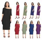 Ladies Bardot Off Shoulder Oversized Baggy Loose Fit Midi Dress