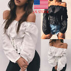 US Women's Retro Sexy Lace-up Corset Off Shoulder Long Sleeve T-shirt Tops