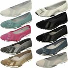 Ladies Down To Earth Flat Slip On Ballerina Shoes F8R991